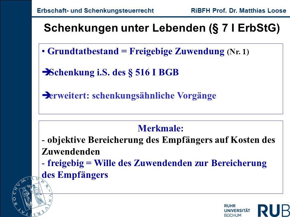 Erbschaft- und Schenkungsteuerrecht RiBFH Prof. Dr. Matthias Loose Erbschaft- und Schenkungsteuerrecht RiBFH Prof. Dr. Matthias Loose Schenkungen unte