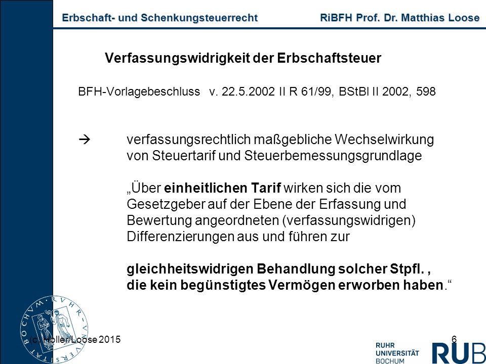 Erbschaft- und Schenkungsteuerrecht RiBFH Prof. Dr. Matthias Loose Erbschaft- und Schenkungsteuerrecht RiBFH Prof. Dr. Matthias Loose 6 Verfassungswid