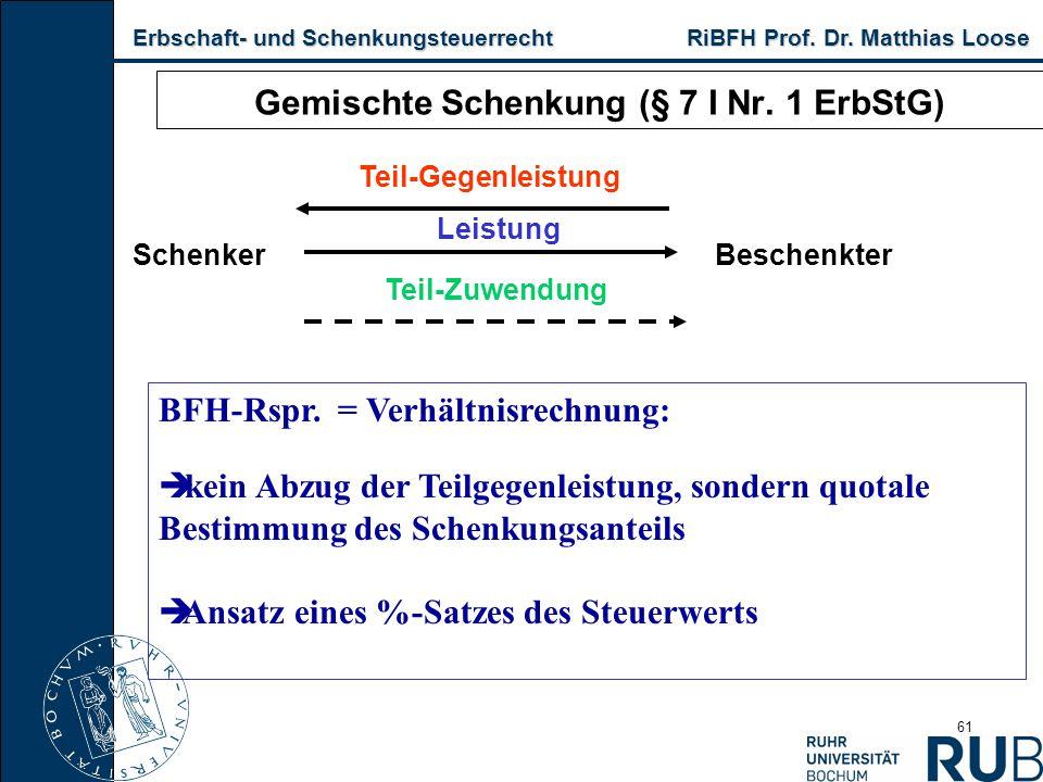Erbschaft- und Schenkungsteuerrecht RiBFH Prof. Dr. Matthias Loose Erbschaft- und Schenkungsteuerrecht RiBFH Prof. Dr. Matthias Loose 61 Gemischte Sch