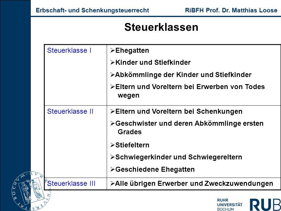 Erbschaft- und Schenkungsteuerrecht RiBFH Prof. Dr. Matthias Loose Erbschaft- und Schenkungsteuerrecht RiBFH Prof. Dr. Matthias Loose Steuerklassen St
