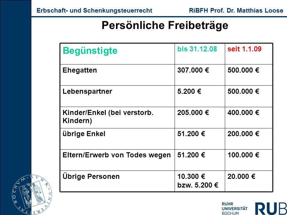 Erbschaft- und Schenkungsteuerrecht RiBFH Prof. Dr. Matthias Loose Erbschaft- und Schenkungsteuerrecht RiBFH Prof. Dr. Matthias Loose Persönliche Frei