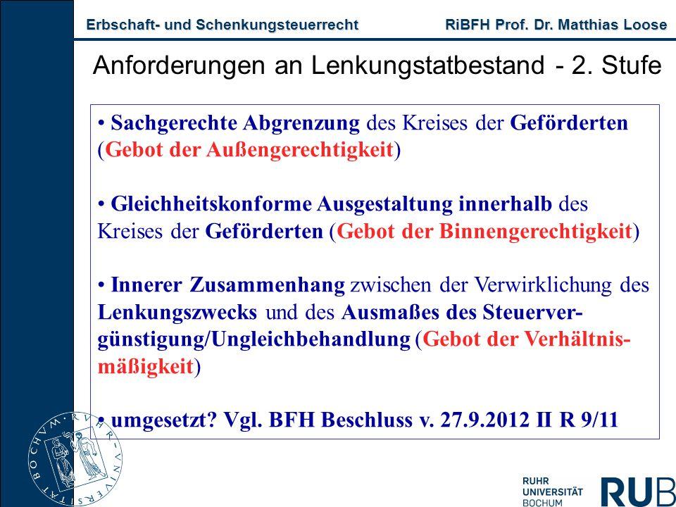 Erbschaft- und Schenkungsteuerrecht RiBFH Prof. Dr. Matthias Loose Erbschaft- und Schenkungsteuerrecht RiBFH Prof. Dr. Matthias Loose Anforderungen an