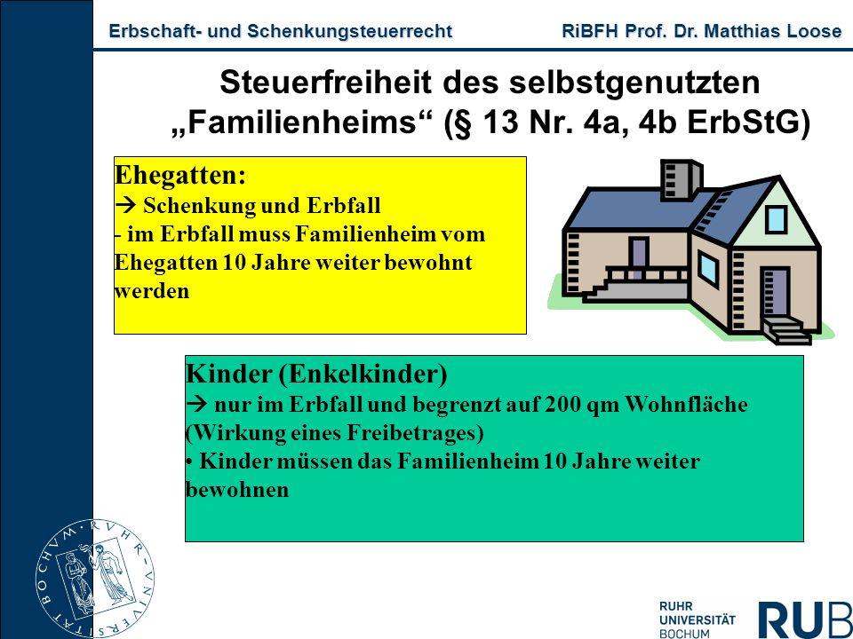 Erbschaft- und Schenkungsteuerrecht RiBFH Prof. Dr. Matthias Loose Erbschaft- und Schenkungsteuerrecht RiBFH Prof. Dr. Matthias Loose Steuerfreiheit d