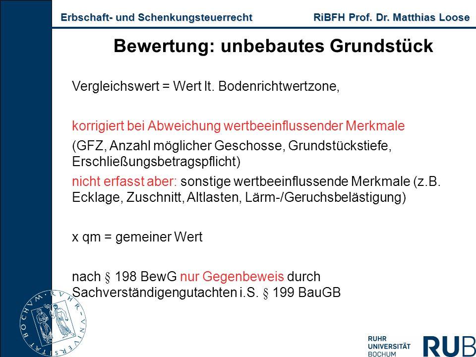 Erbschaft- und Schenkungsteuerrecht RiBFH Prof. Dr. Matthias Loose Erbschaft- und Schenkungsteuerrecht RiBFH Prof. Dr. Matthias Loose Bewertung: unbeb