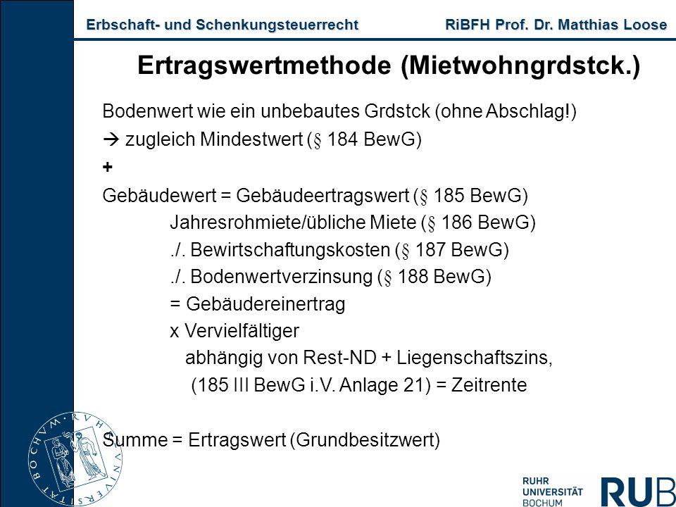 Erbschaft- und Schenkungsteuerrecht RiBFH Prof. Dr. Matthias Loose Erbschaft- und Schenkungsteuerrecht RiBFH Prof. Dr. Matthias Loose Ertragswertmetho