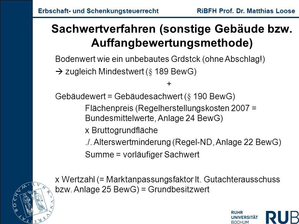 Erbschaft- und Schenkungsteuerrecht RiBFH Prof. Dr. Matthias Loose Erbschaft- und Schenkungsteuerrecht RiBFH Prof. Dr. Matthias Loose Sachwertverfahre