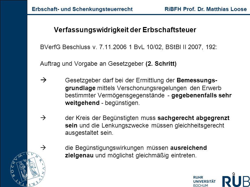 Erbschaft- und Schenkungsteuerrecht RiBFH Prof. Dr. Matthias Loose Erbschaft- und Schenkungsteuerrecht RiBFH Prof. Dr. Matthias Loose 9 Verfassungswid