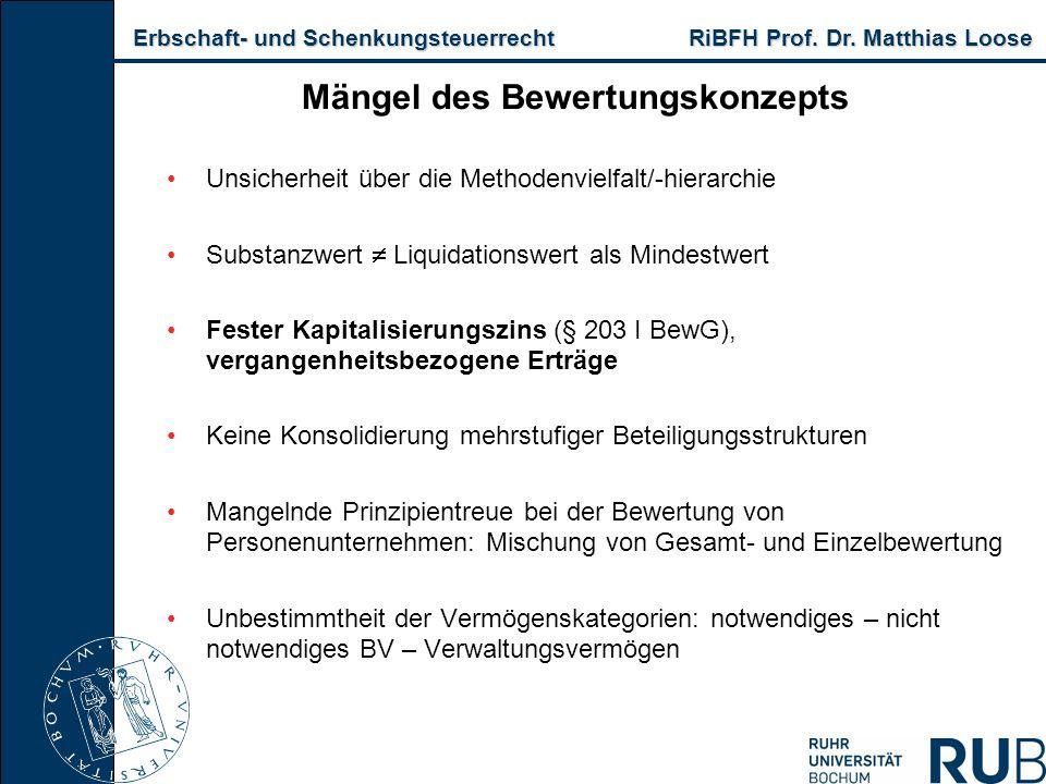 Erbschaft- und Schenkungsteuerrecht RiBFH Prof. Dr. Matthias Loose Erbschaft- und Schenkungsteuerrecht RiBFH Prof. Dr. Matthias Loose Mängel des Bewer