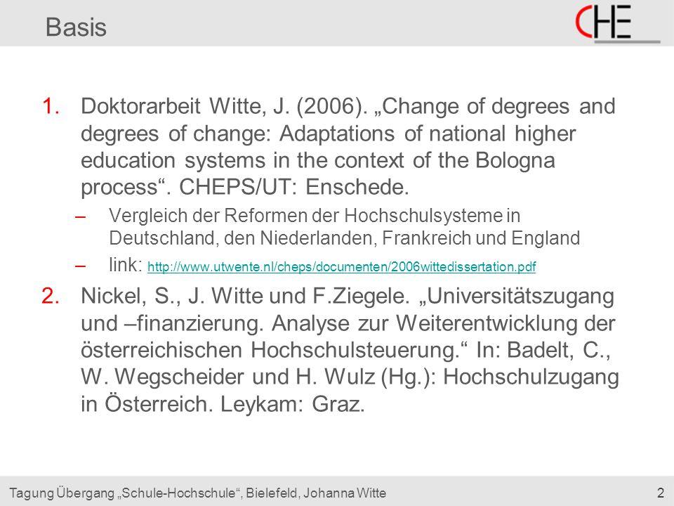 "2Tagung Übergang ""Schule-Hochschule"", Bielefeld, Johanna Witte Basis 1.Doktorarbeit Witte, J. (2006). ""Change of degrees and degrees of change: Adapta"