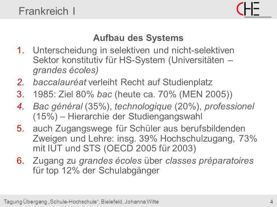 """4Tagung Übergang """"Schule-Hochschule"""", Bielefeld, Johanna Witte Frankreich I Aufbau des Systems 1.Unterscheidung in selektiven und nicht-selektiven Sek"""