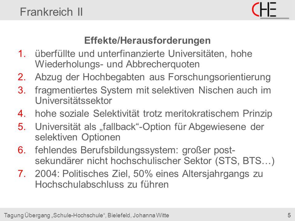 """5Tagung Übergang """"Schule-Hochschule"""", Bielefeld, Johanna Witte Frankreich II Effekte/Herausforderungen 1.überfüllte und unterfinanzierte Universitäten"""