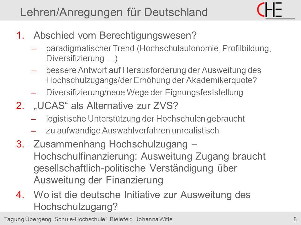"""8Tagung Übergang """"Schule-Hochschule"""", Bielefeld, Johanna Witte Lehren/Anregungen für Deutschland 1.Abschied vom Berechtigungswesen? –paradigmatischer"""