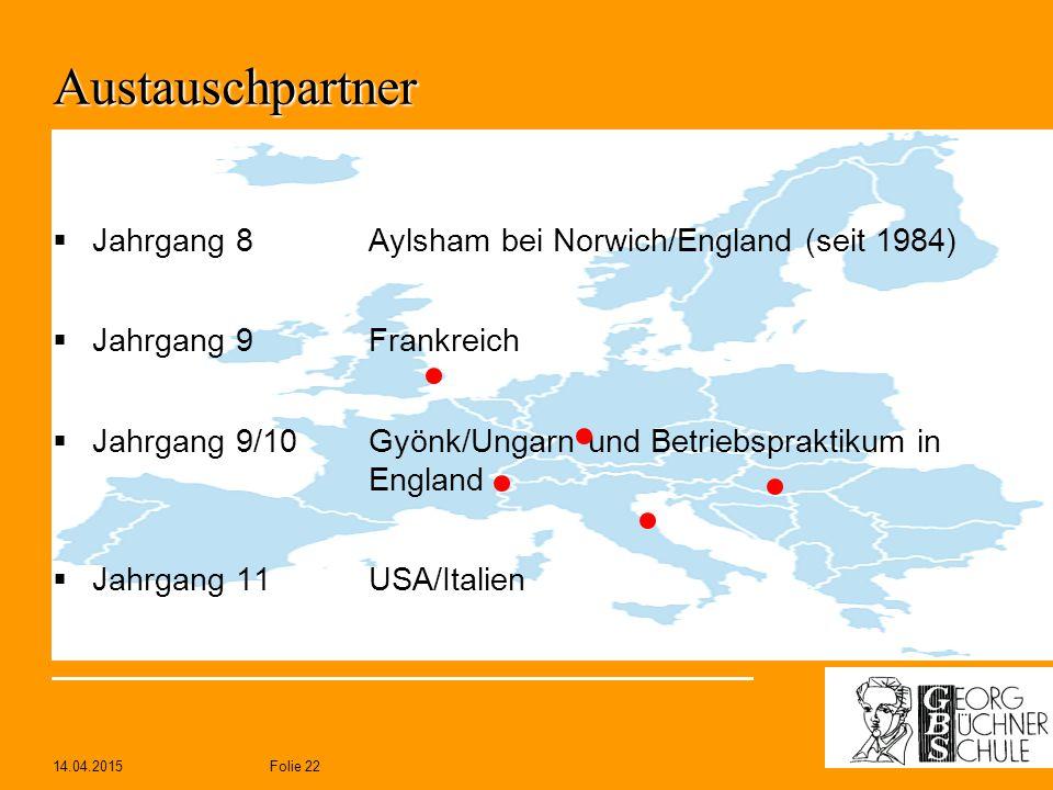 14.04.2015Folie 22 Austauschpartner  Jahrgang 8Aylsham bei Norwich/England (seit 1984)  Jahrgang 9Frankreich  Jahrgang 9/10Gyönk/Ungarn und Betrieb