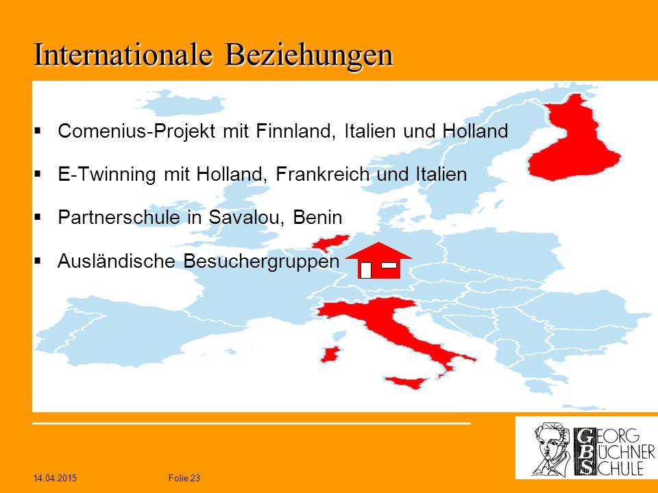 14.04.2015Folie 23 Internationale Beziehungen  Comenius-Projekt mit Finnland, Italien und Holland  E-Twinning mit Holland, Frankreich und Italien 