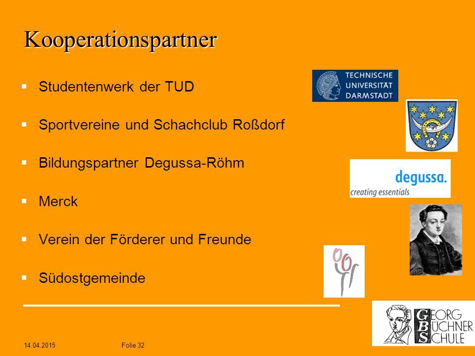 14.04.2015Folie 32 Kooperationspartner  Studentenwerk der TUD  Sportvereine und Schachclub Roßdorf  Bildungspartner Degussa-Röhm  Merck  Verein d