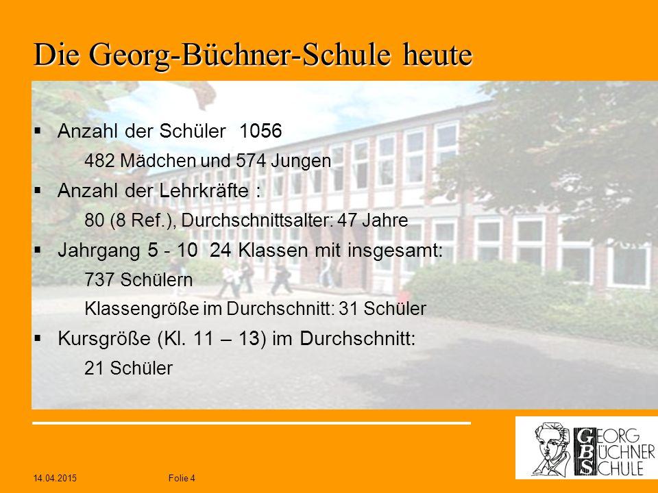 14.04.2015Folie 4 Die Georg-Büchner-Schule heute  Anzahl der Schüler 1056 482 Mädchen und 574 Jungen  Anzahl der Lehrkräfte : 80 (8 Ref.), Durchschn