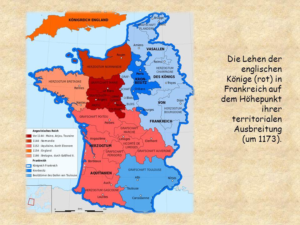 Die Lehen der englischen Könige (rot) in Frankreich auf dem Höhepunkt ihrer territorialen Ausbreitung (um 1173).