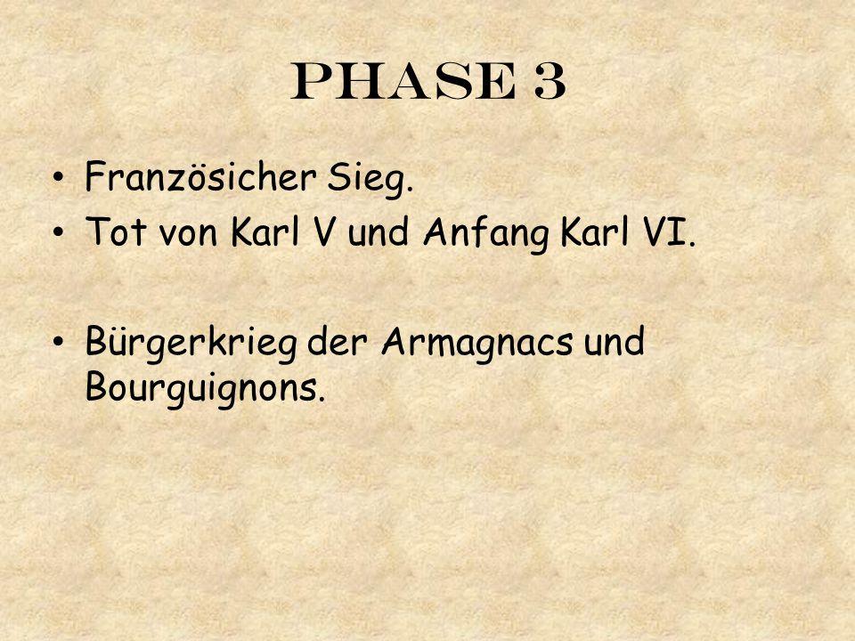 Phase 3 Französicher Sieg. Tot von Karl V und Anfang Karl VI. Bürgerkrieg der Armagnacs und Bourguignons.