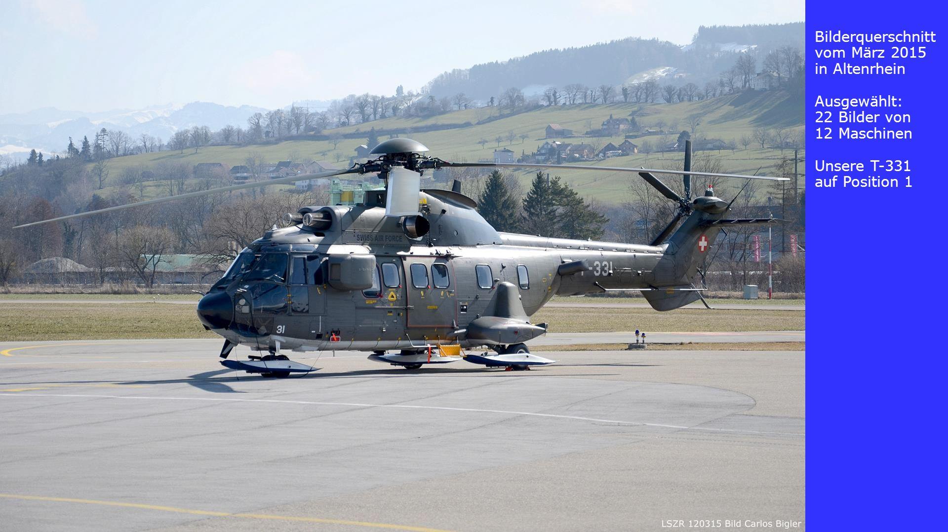 Bilderquerschnitt vom März 2015 in Altenrhein Ausgewählt: 22 Bilder von 12 Maschinen Unsere T-331 auf Position 1