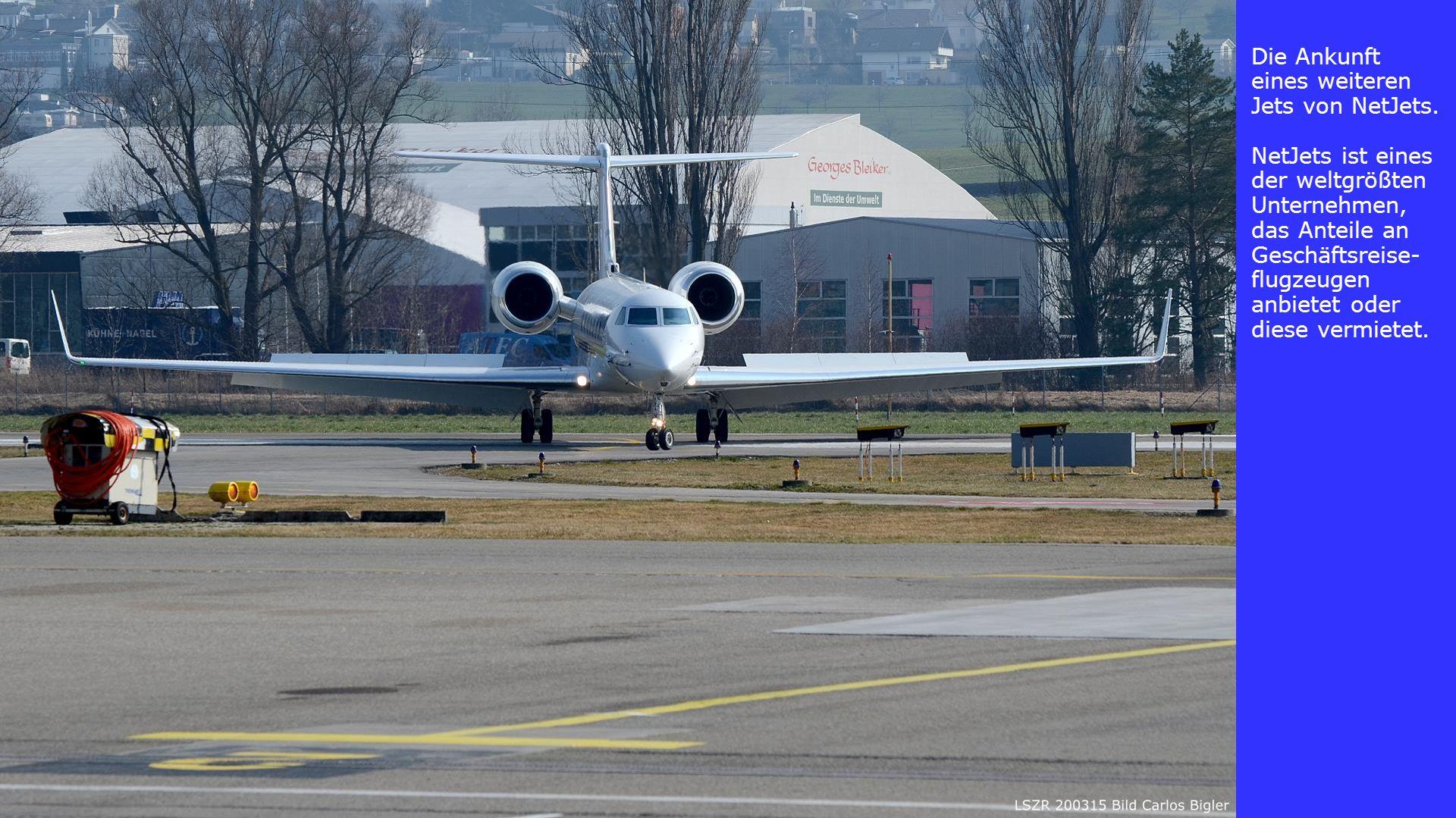 Die Ankunft eines weiteren Jets von NetJets. NetJets ist eines der weltgrößten Unternehmen, das Anteile an Geschäftsreise- flugzeugen anbietet oder di