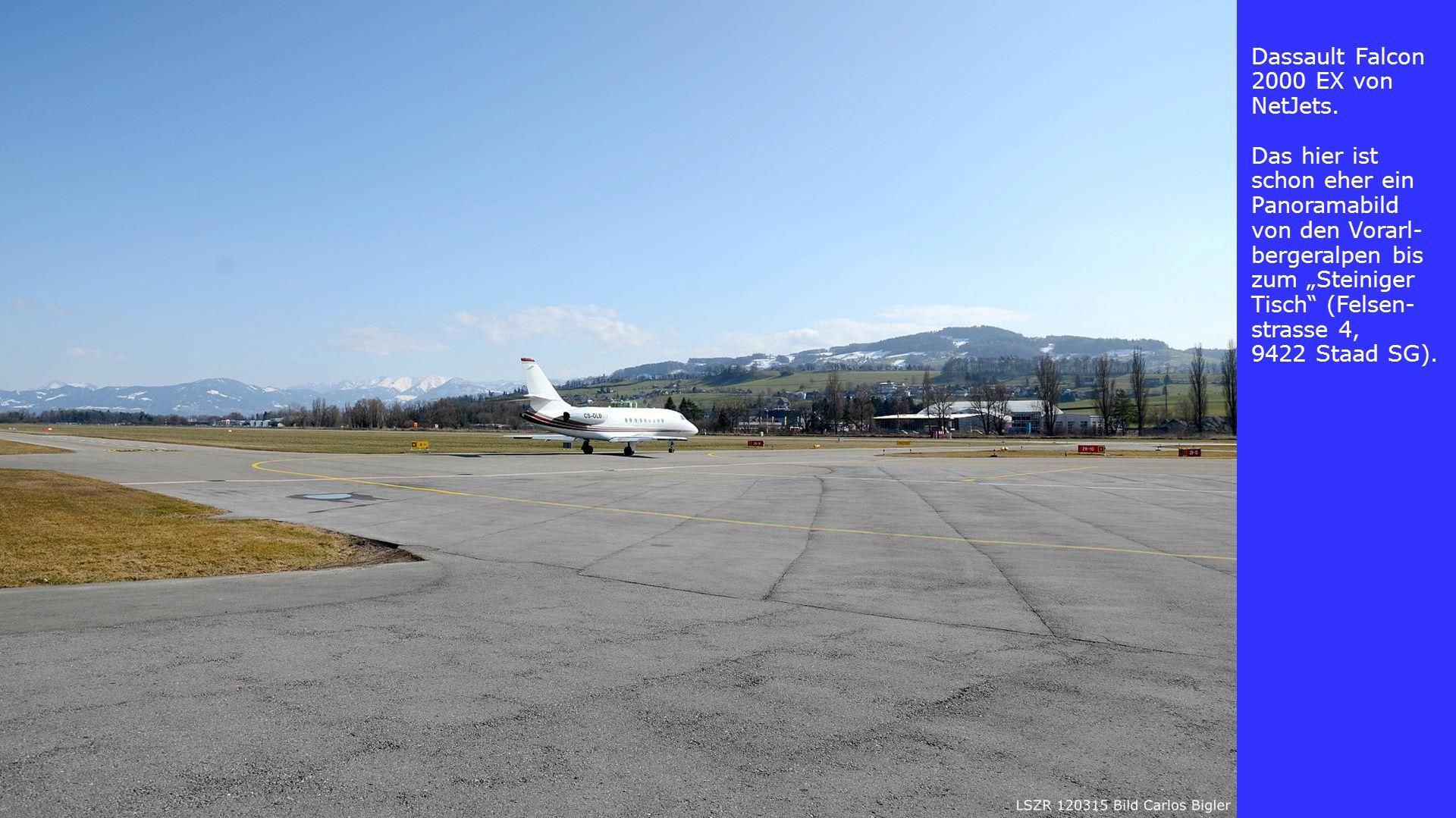 """Dassault Falcon 2000 EX von NetJets. Das hier ist schon eher ein Panoramabild von den Vorarl- bergeralpen bis zum """"Steiniger Tisch"""" (Felsen- strasse 4"""