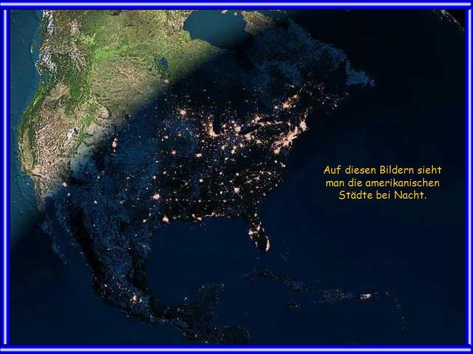 Auf diesen Bildern sieht man die amerikanischen Städte bei Nacht.