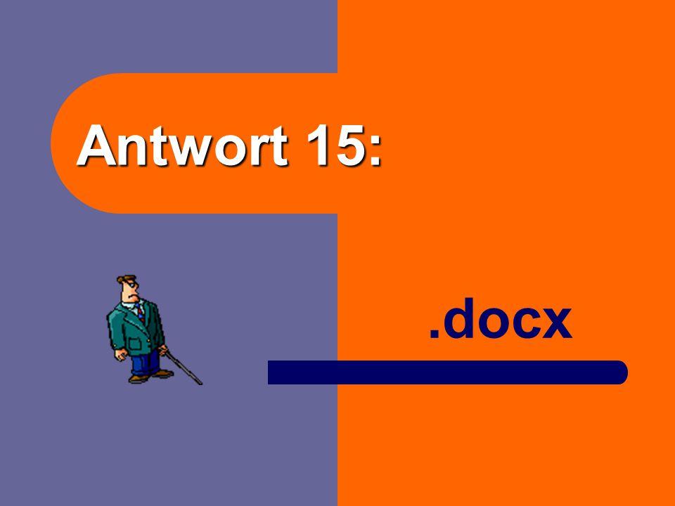 Frage 15: Wie heißt die Dateinamenerweiterung für WORD ab 2007?