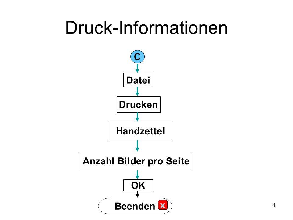 4 Druck-Informationen C Datei Drucken Handzettel Anzahl Bilder pro Seite OK Beenden x