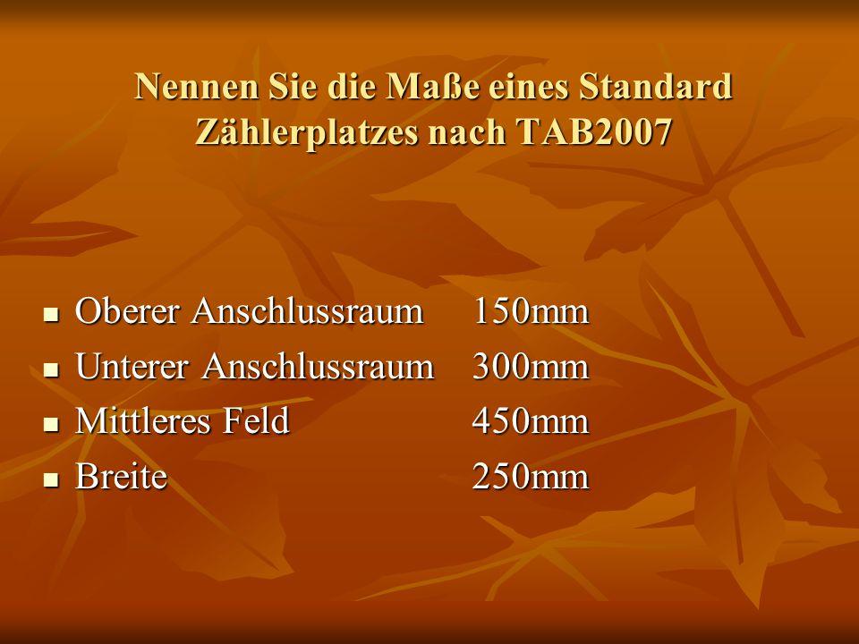 Nennen Sie die Maße eines Standard Zählerplatzes nach TAB2007 Oberer Anschlussraum150mm Oberer Anschlussraum150mm Unterer Anschlussraum300mm Unterer A
