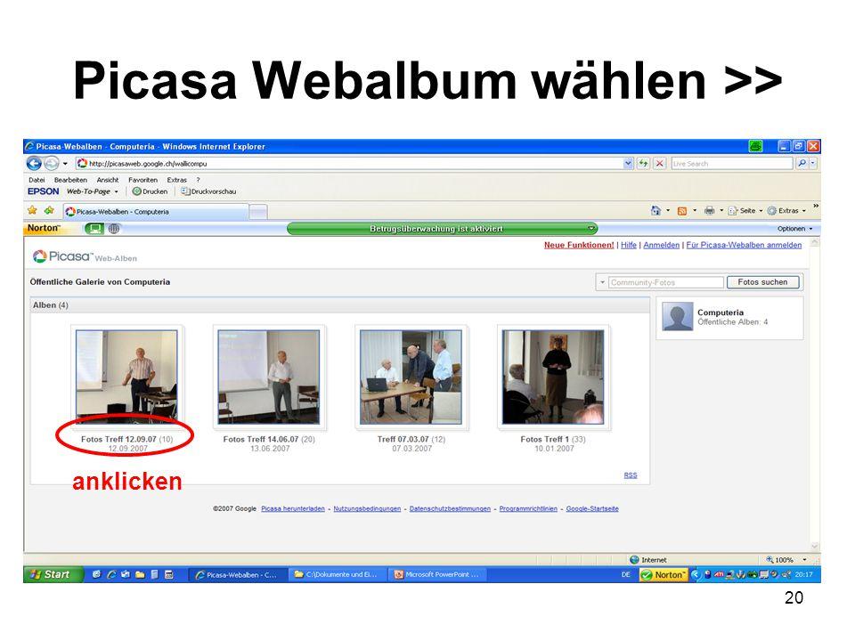 20 Picasa Webalbum wählen >> anklicken