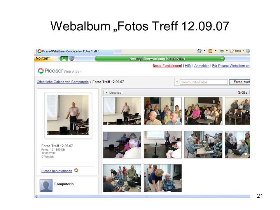 """21 Webalbum """"Fotos Treff 12.09.07"""