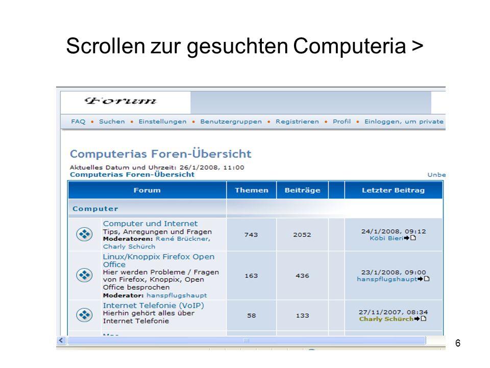 6 Scrollen zur gesuchten Computeria >
