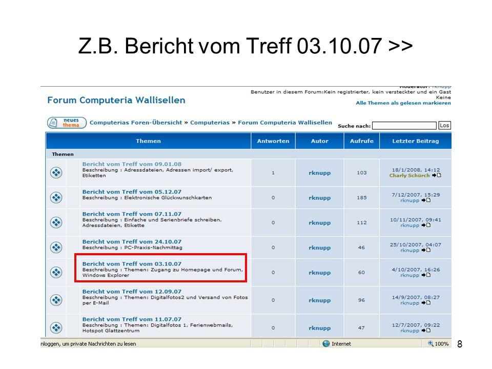 8 Z.B. Bericht vom Treff 03.10.07 >>