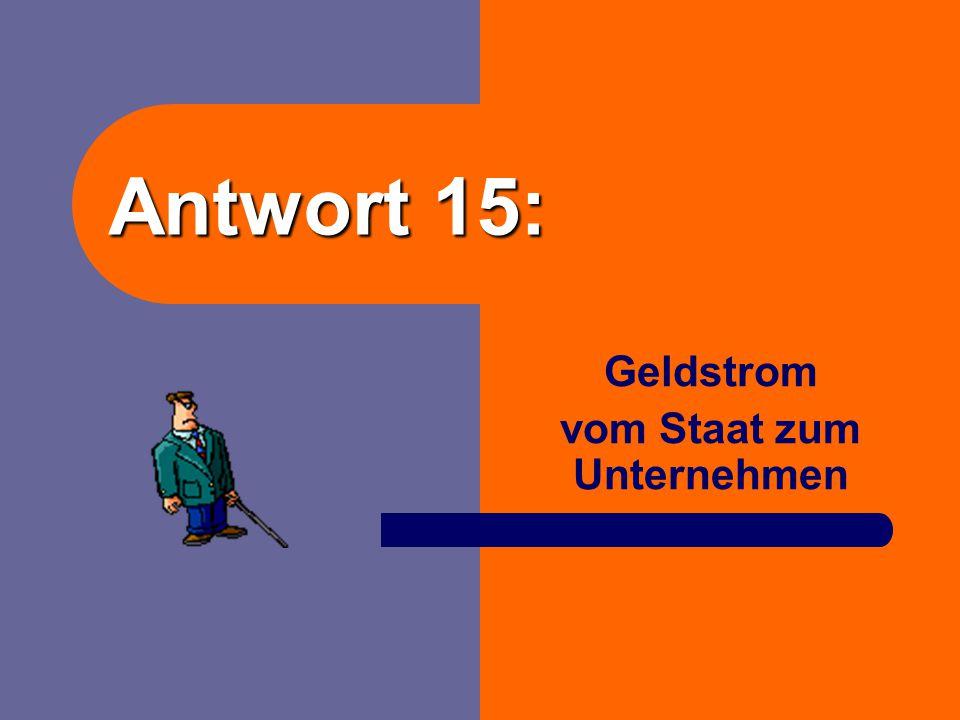 Frage 15: Der Landkreis Cuxhaven zahlt 500,- € für einen Bürostuhl an eine Firma in Otterndorf. Geben Sie genau an, um welche Art von Strom es sich ha
