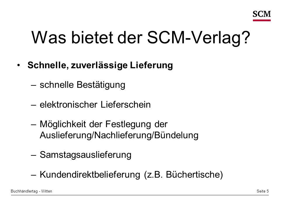 Seite 5Buchhändlertag - Witten Was bietet der SCM-Verlag.
