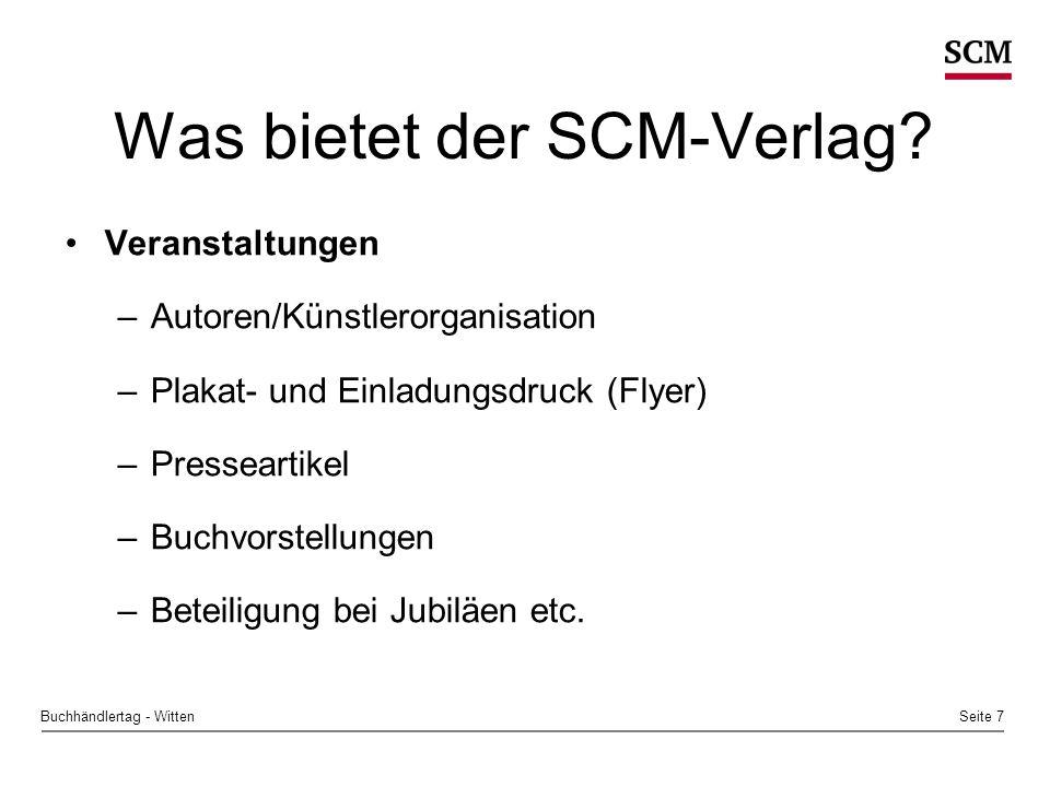 Seite 8Buchhändlertag - Witten Was bietet der SCM-Verlag.
