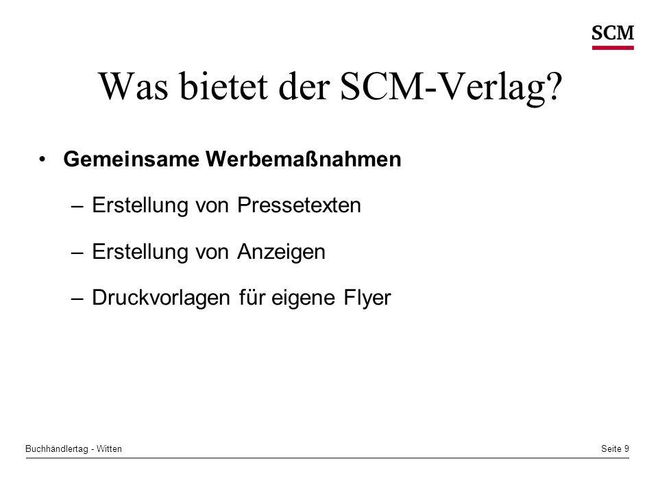 Seite 9Buchhändlertag - Witten Was bietet der SCM-Verlag.