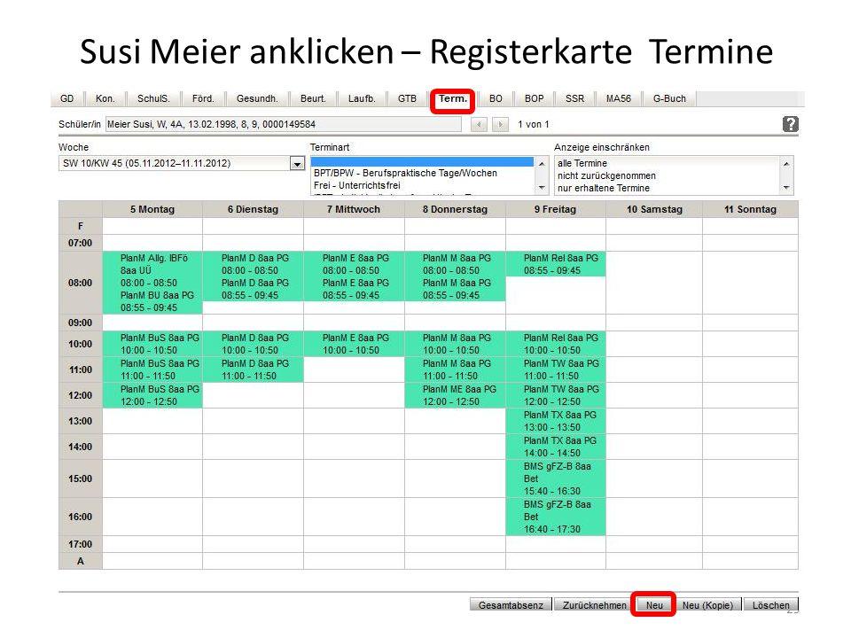Susi Meier anklicken – Registerkarte Termine 29