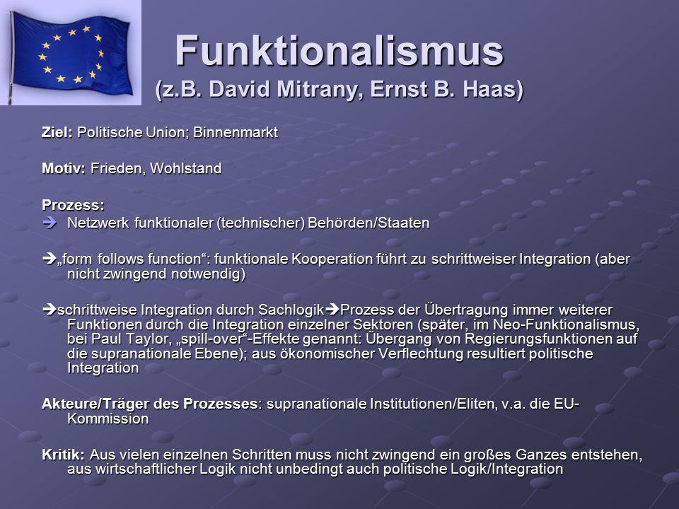 Funktionalismus (z.B. David Mitrany, Ernst B. Haas) Ziel: Politische Union; Binnenmarkt Motiv: Frieden, Wohlstand Prozess:  Netzwerk funktionaler (te
