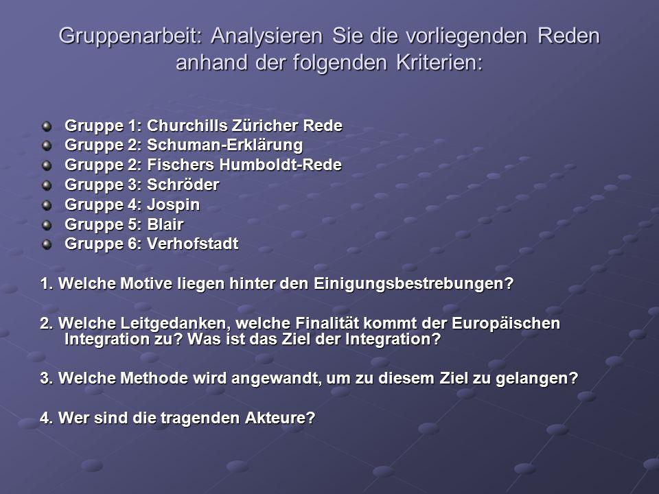 Gruppenarbeit: Analysieren Sie die vorliegenden Reden anhand der folgenden Kriterien: Gruppe 1: Churchills Züricher Rede Gruppe 2: Schuman-Erklärung G