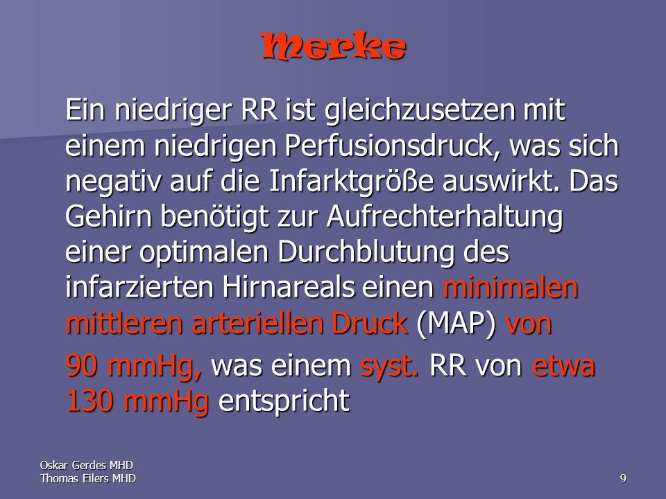 Oskar Gerdes MHD Thomas Eilers MHD9 Merke Ein niedriger RR ist gleichzusetzen mit einem niedrigen Perfusionsdruck, was sich negativ auf die Infarktgröße auswirkt.