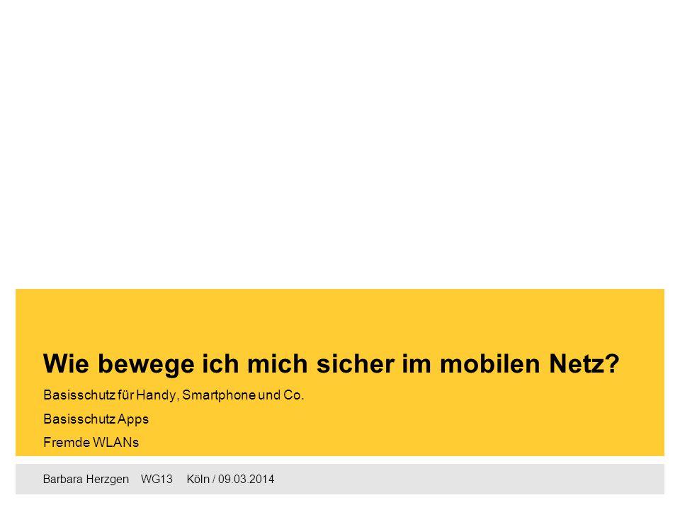 Barbara Herzgen  WG13  Köln / 09.03.2014 Basisschutz für Handy, Smartphone und Co. Basisschutz Apps Fremde WLANs Wie bewege ich mich sicher im mob