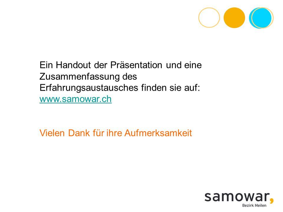 Ein Handout der Präsentation und eine Zusammenfassung des Erfahrungsaustausches finden sie auf: www.samowar.ch www.samowar.ch Vielen Dank für ihre Auf