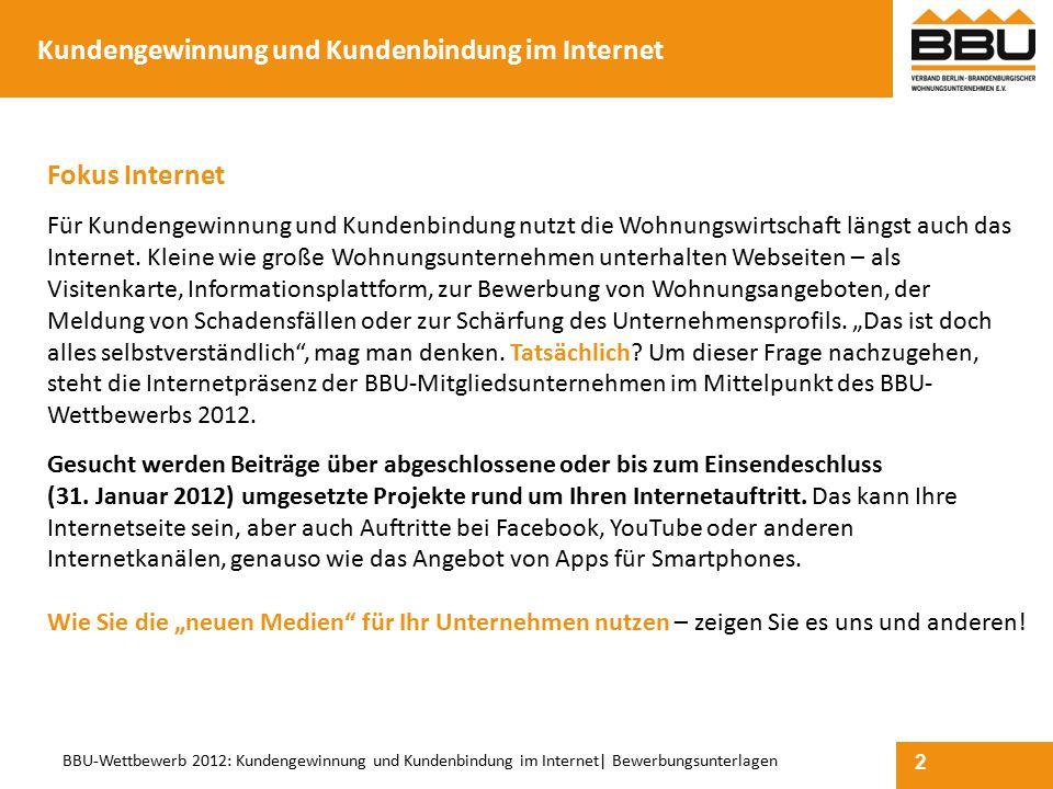 2 BBU-Wettbewerb 2012: Kundengewinnung und Kundenbindung im Internet  Bewerbungsunterlagen Kundengewinnung und Kundenbindung im Internet Fokus Interne