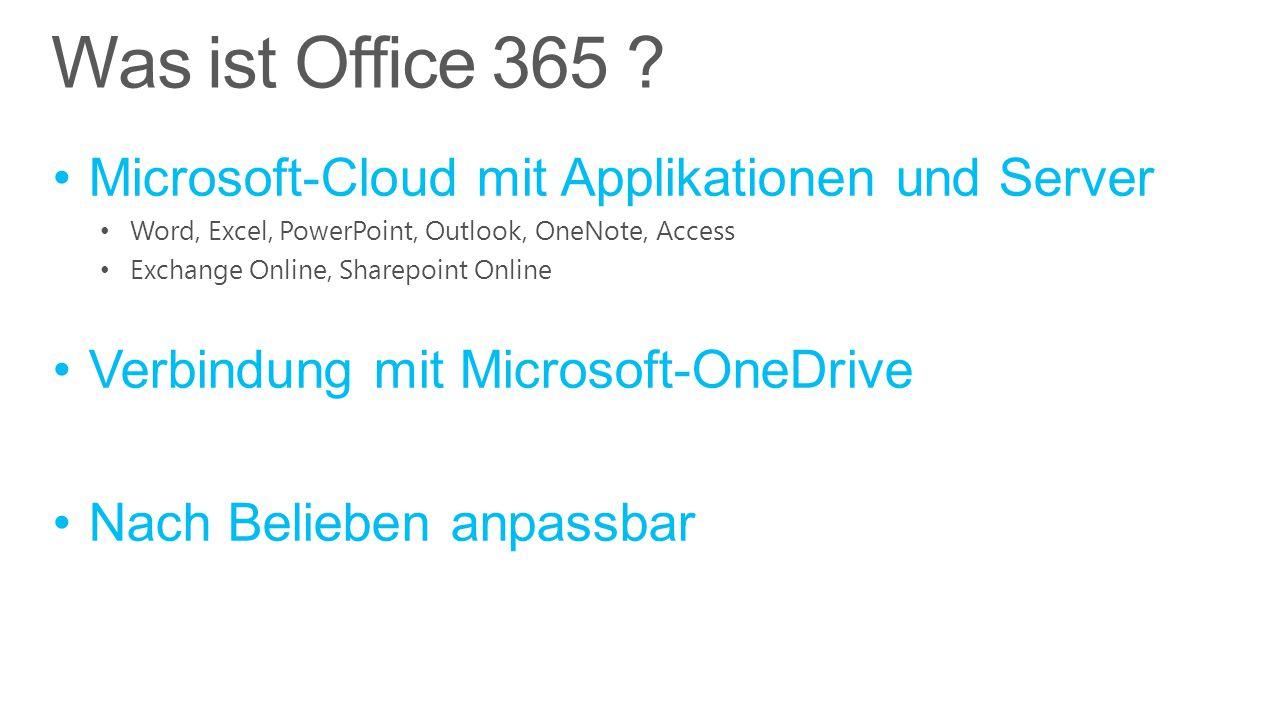 Microsoft-Cloud mit Applikationen und Server Word, Excel, PowerPoint, Outlook, OneNote, Access Exchange Online, Sharepoint Online Verbindung mit Micro