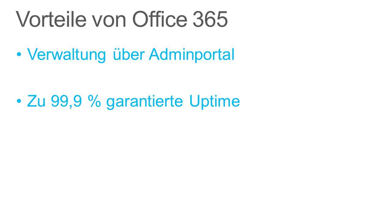 Vorteile von Office 365 Verwaltung über Adminportal Zu 99,9 % garantierte Uptime