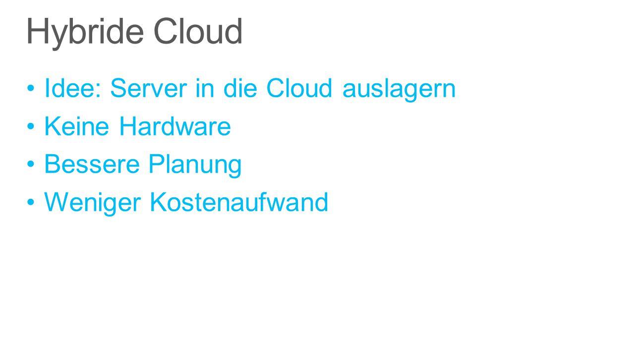 Idee: Server in die Cloud auslagern Keine Hardware Bessere Planung Weniger Kostenaufwand