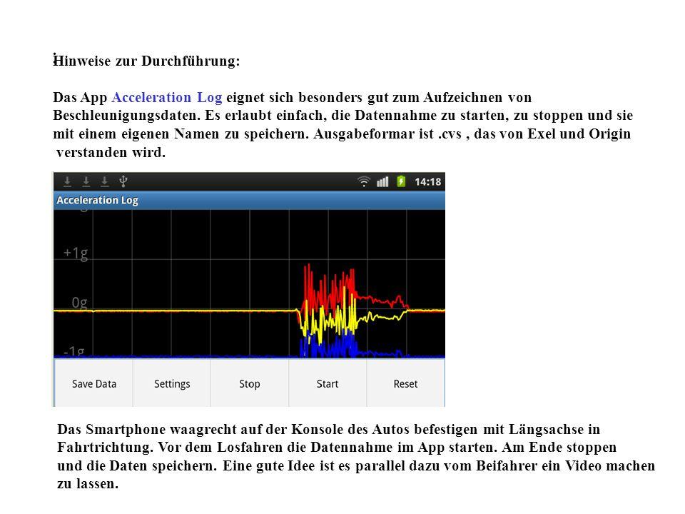 : Hinweise zur Durchführung: Das App Acceleration Log eignet sich besonders gut zum Aufzeichnen von Beschleunigungsdaten. Es erlaubt einfach, die Date