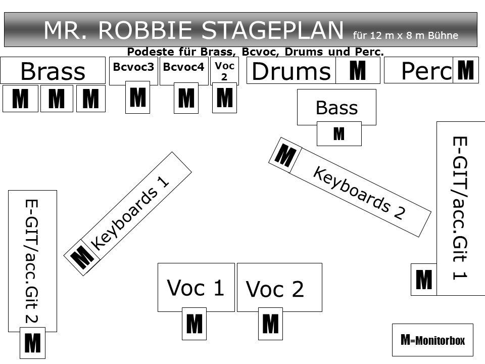 Drums MR. ROBBIE STAGEPLAN für 12 m x 8 m Bühne M E-GIT/acc.Git 1 Bass M M Voc 1 Voc 2 M M M M = Monitorbox Perc. M Brass MMM Keyboards 1 Keyboards 2