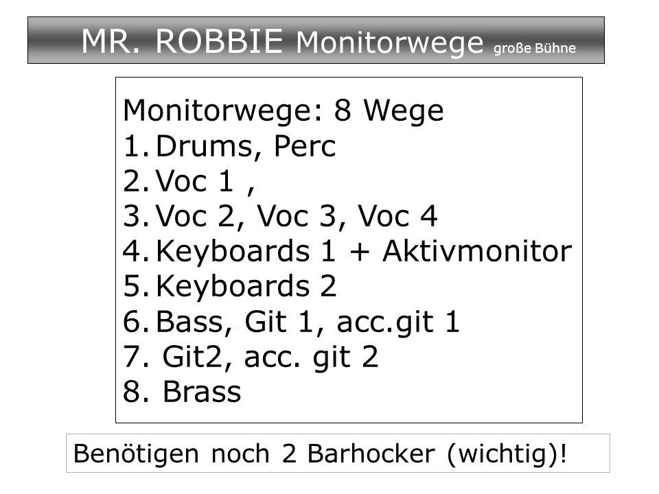 MR. ROBBIE Monitorwege große Bühne Monitorwege: 8 Wege 1.Drums, Perc 2.Voc 1, 3.Voc 2, Voc 3, Voc 4 4.Keyboards 1 + Aktivmonitor 5.Keyboards 2 6.Bass,
